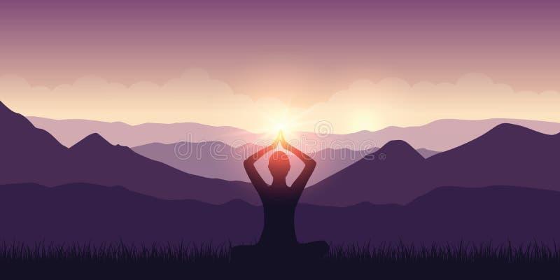 Fridsam meditation i det purpurfärgade landskapet för berg med solsken vektor illustrationer