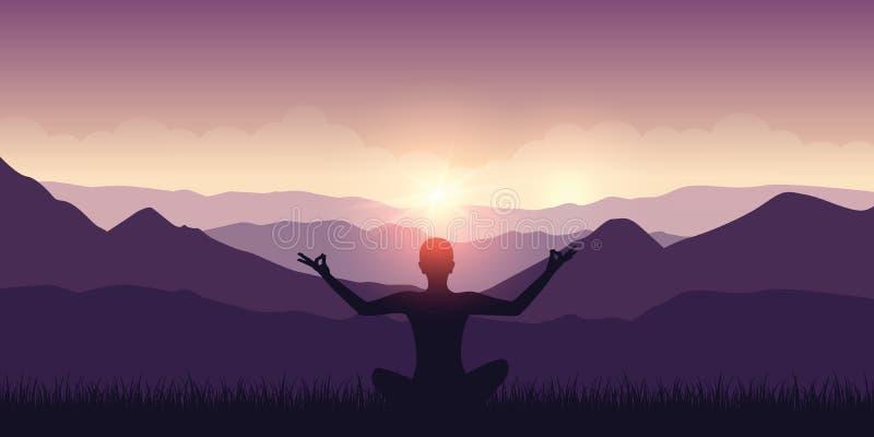 Fridsam meditation med landskap och solsken för bergsikt purpurfärgat stock illustrationer