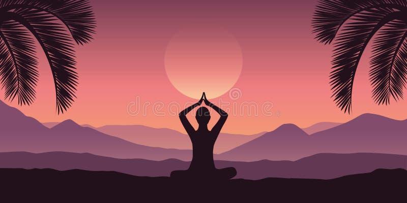 Fridsam meditation på det tropiska röda berglandskapet i purpurfärgade färger vektor illustrationer