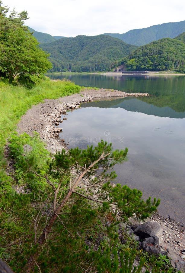Fridsam naturplats med gröna berg, träd och sjön i Kawaguchiko nära Mount Fuji arkivfoto