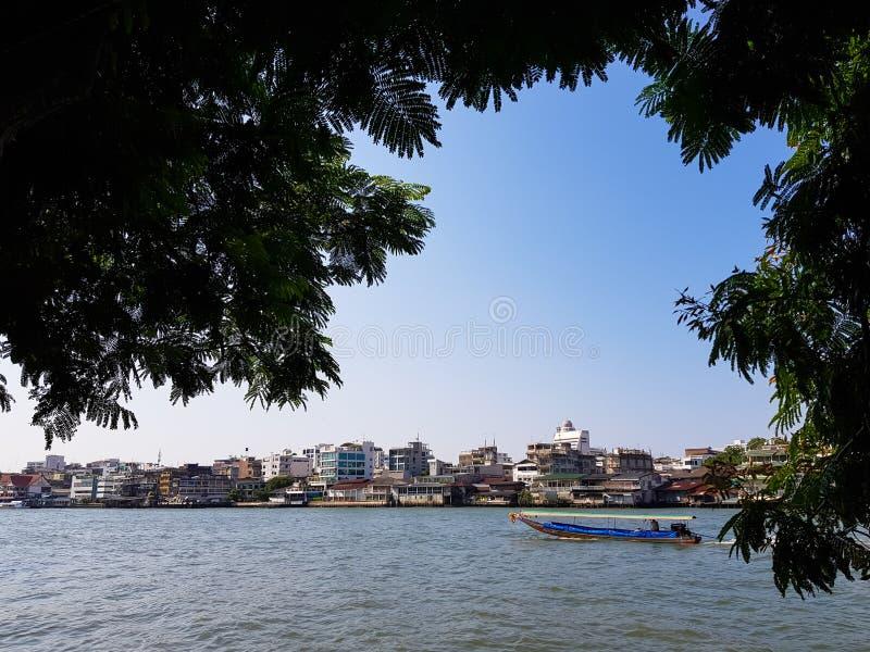 Fridsam plats av den lokala traditionella fartygseglingen för lång svans på den Chao Phraya floden med flodstrandbyggnadshorisont fotografering för bildbyråer