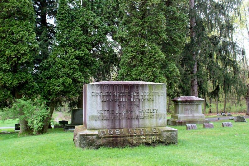 Fridsam plats av stora träd som omger den gamla red ut gravstenar, Saratoga monumentet och Victory Woods Cemetery, 2019 royaltyfria foton
