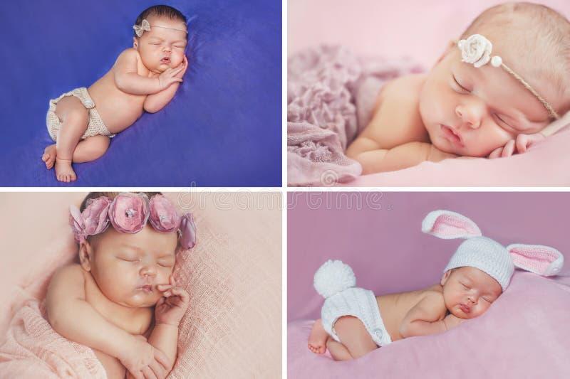 Fridsam sömn av ett nyfött behandla som ett barn, en collage av fyra bilder fotografering för bildbyråer