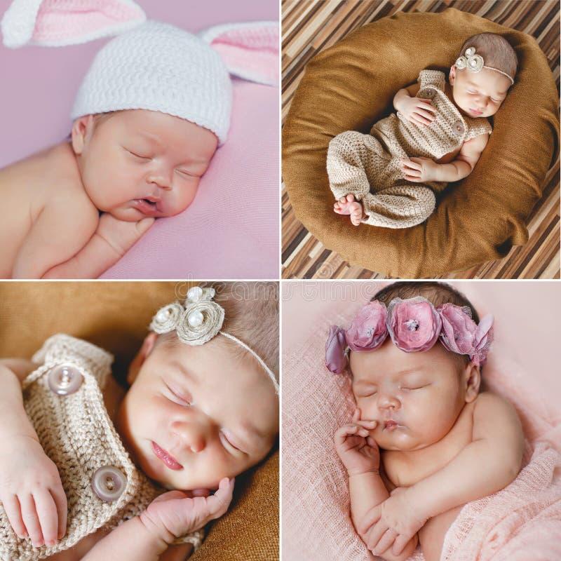Fridsam sömn av ett nyfött behandla som ett barn, en collage av fyra bilder arkivbilder