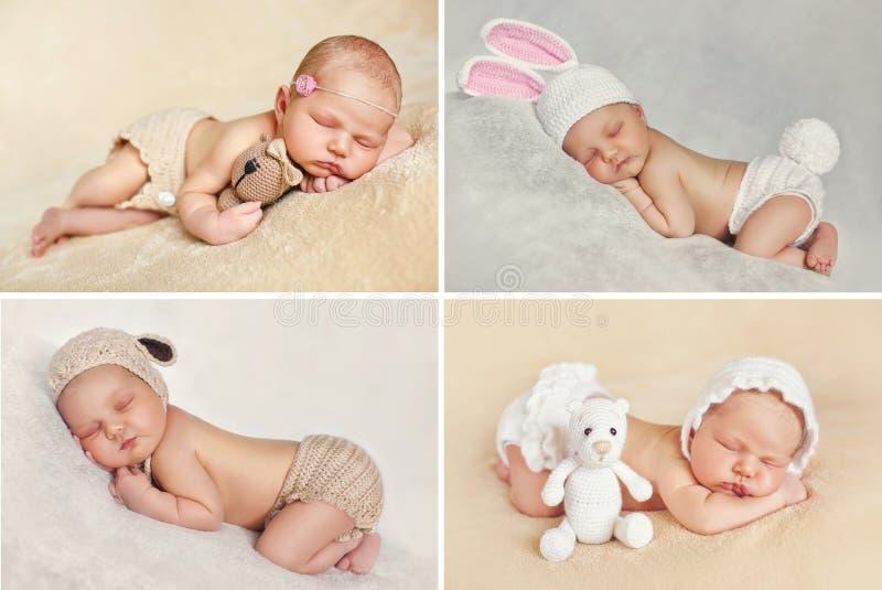 Fridsam sömn av ett nyfött behandla som ett barn, en collage av fyra bilder arkivfoto