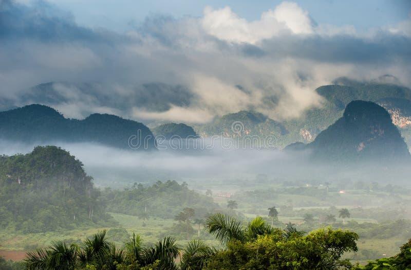 Fridsam sikt av den Vinales dalen på soluppgång Flyg- sikt av den Vinales dalen i Kuba Morgonskymning och dimma Dimma på gryning  royaltyfria bilder