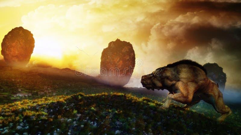 fridsam solnedgång för varelse royaltyfri illustrationer