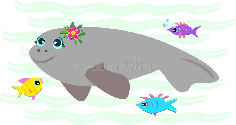 fridsam vänlig manatee för fisk royaltyfri illustrationer