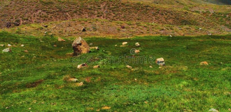 Fridsamt berglandskap för grön dal royaltyfri foto