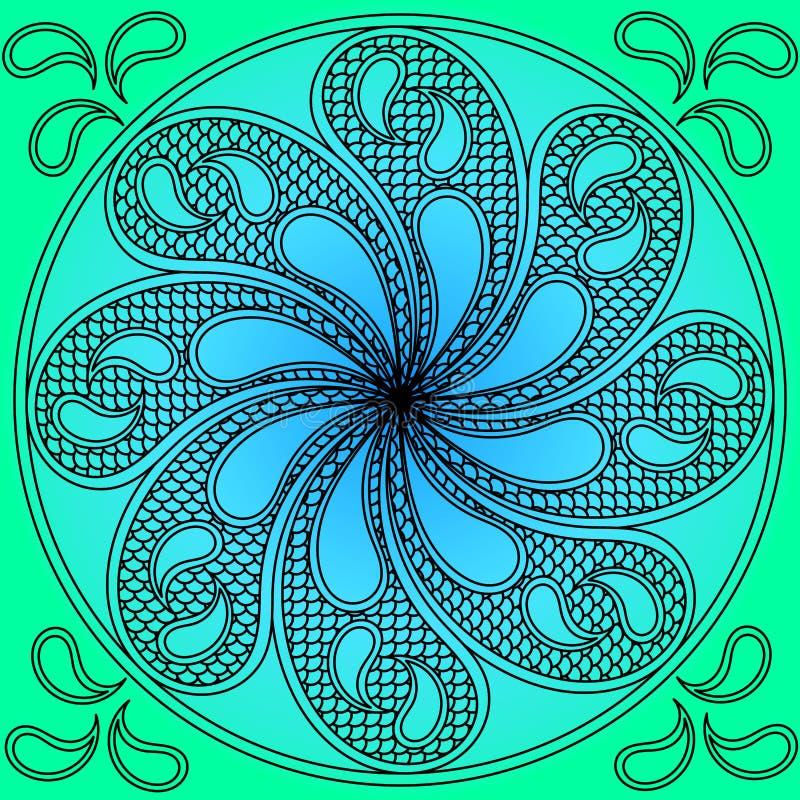 Fridsamt vatten virvlar runt mandalaen royaltyfri illustrationer