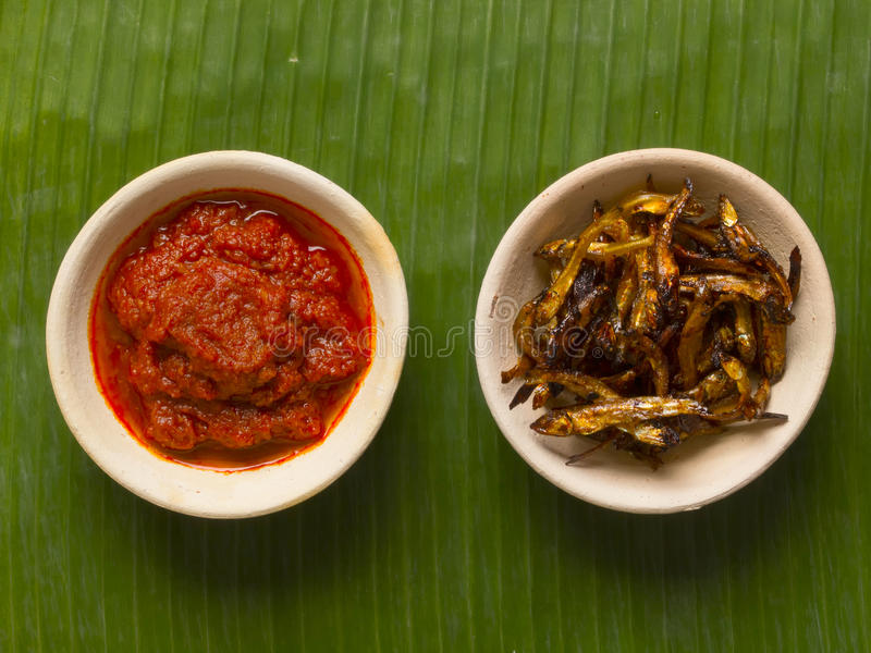 Download Fried Anchovies And Sambal Chili Stock Image - Image: 25524393