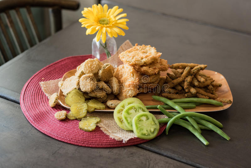Fried appetizer plate stock image