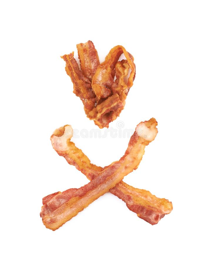 Fried bacon composition isolated. Over the white background royalty free stock photos