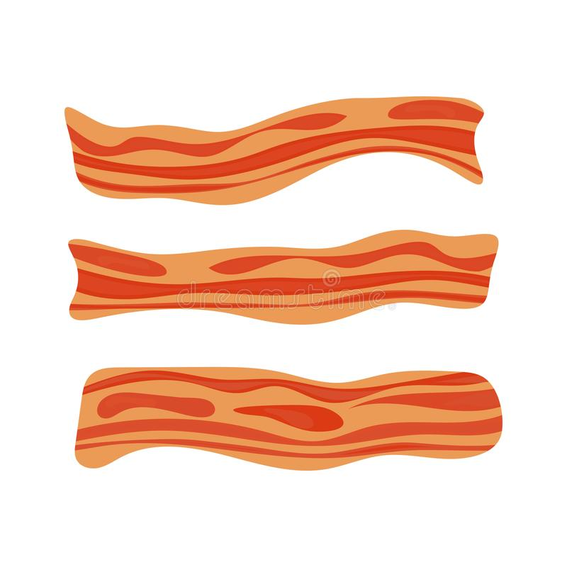 Fried bacon stripe. Pork meat. Healthy tasty breakfast. Vector illustration set in flat style. stock illustration