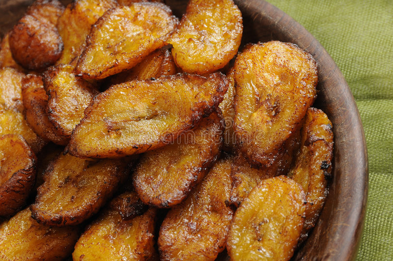 Fried bananas dish stock photography
