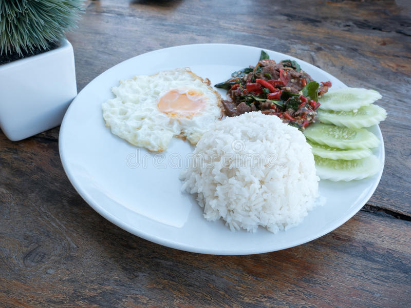 Download Fried Basil Beef With Fried Egg And Rice Stock Image - Image: 83707843