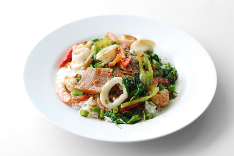 Download Fried Basil Leave With Squid And Shrimp Stock Photo - Image of delicious, squid: 26993736