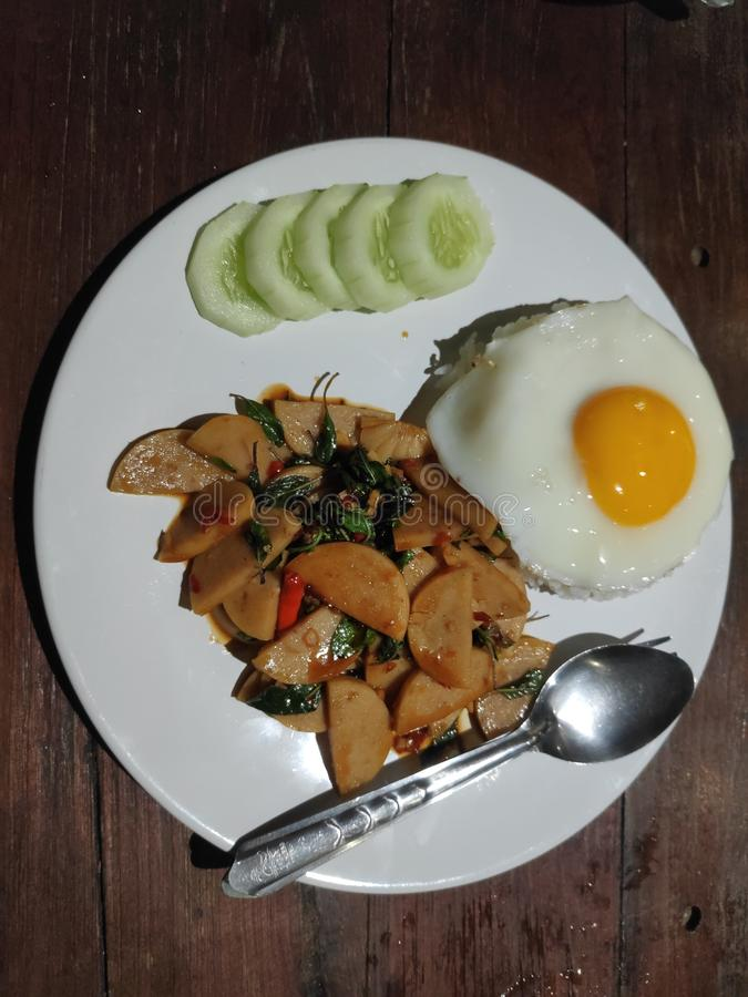 Fried basil with pork rice and Fried egg. Food, breakfast, lunch, dinner royalty free stock images