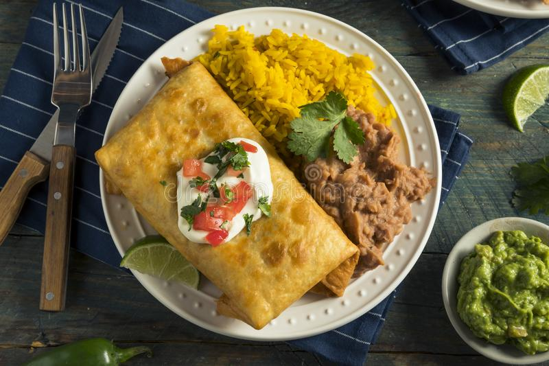 Fried Beef Chimichanga Burrito profondo fotografia stock libera da diritti