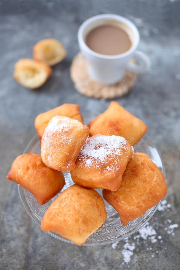 Fried New Orleans Beignets royalty free stock photos