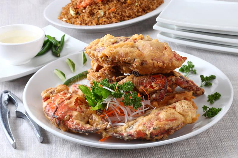Fried brattered crab. On plate stock photography