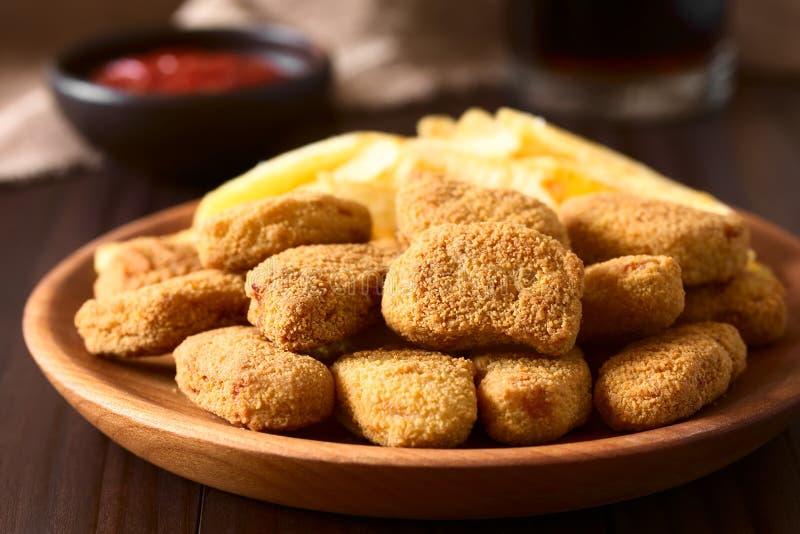 Fried Breaded Crispy Chicken Nuggets fotografering för bildbyråer
