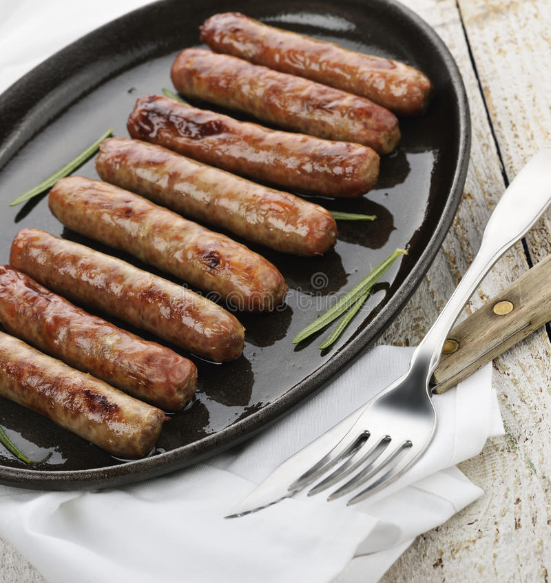 Fried Breakfast Sausage Links foto de stock royalty free
