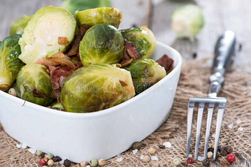 Fried Brussel Sprouts with Ham royalty free stock photos