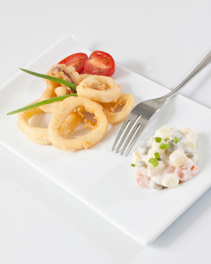 Fried Calamari lizenzfreie stockfotografie