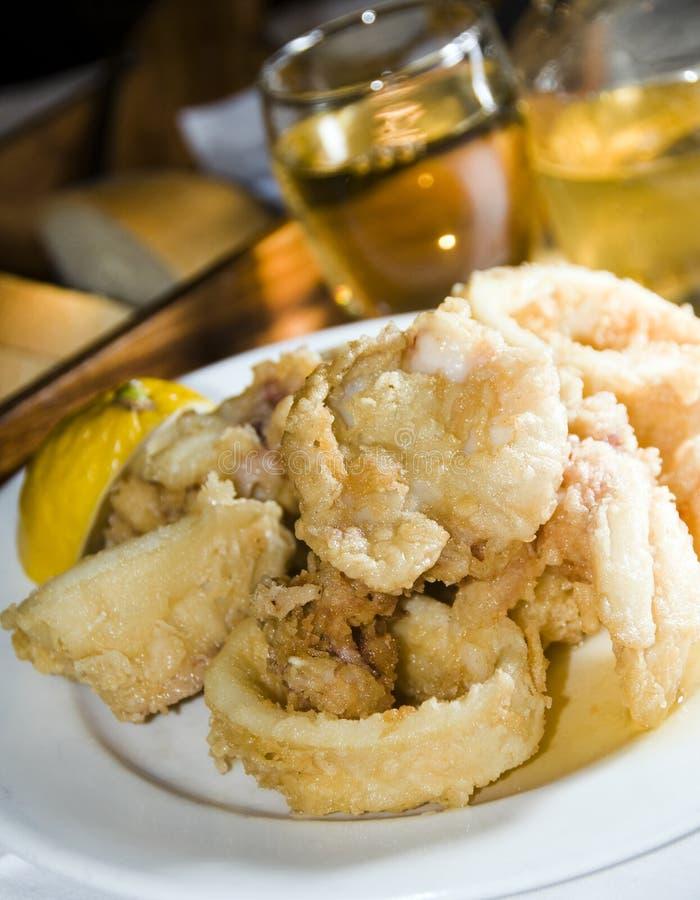 Fried calamari greek island food specialty royalty free stock photography