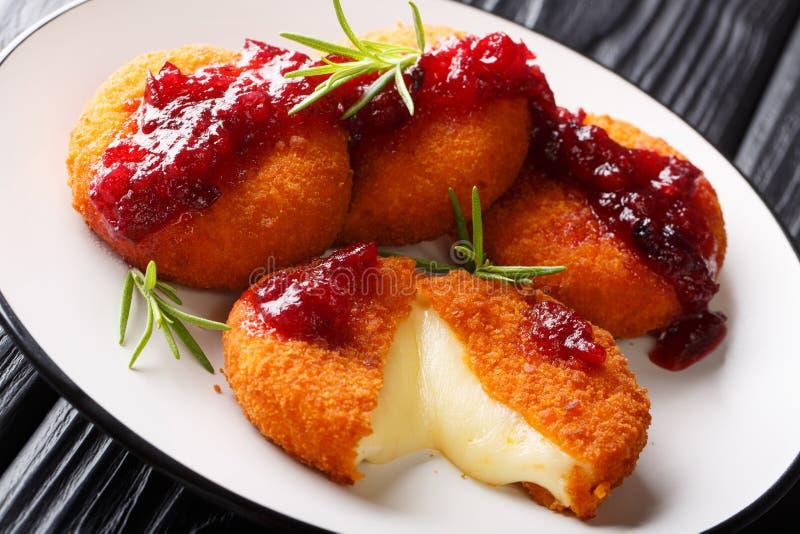 Fried Camembert a pané classé avec la fin de sauce à la canneberge et de romarin d'un plat horizontal photos stock