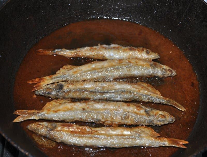 Fried capelin stock photo