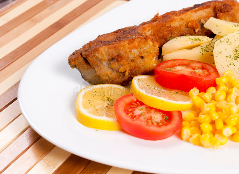 Fried carp stock photos