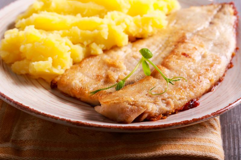 Fried carp and mashed potatoes royalty free stock images