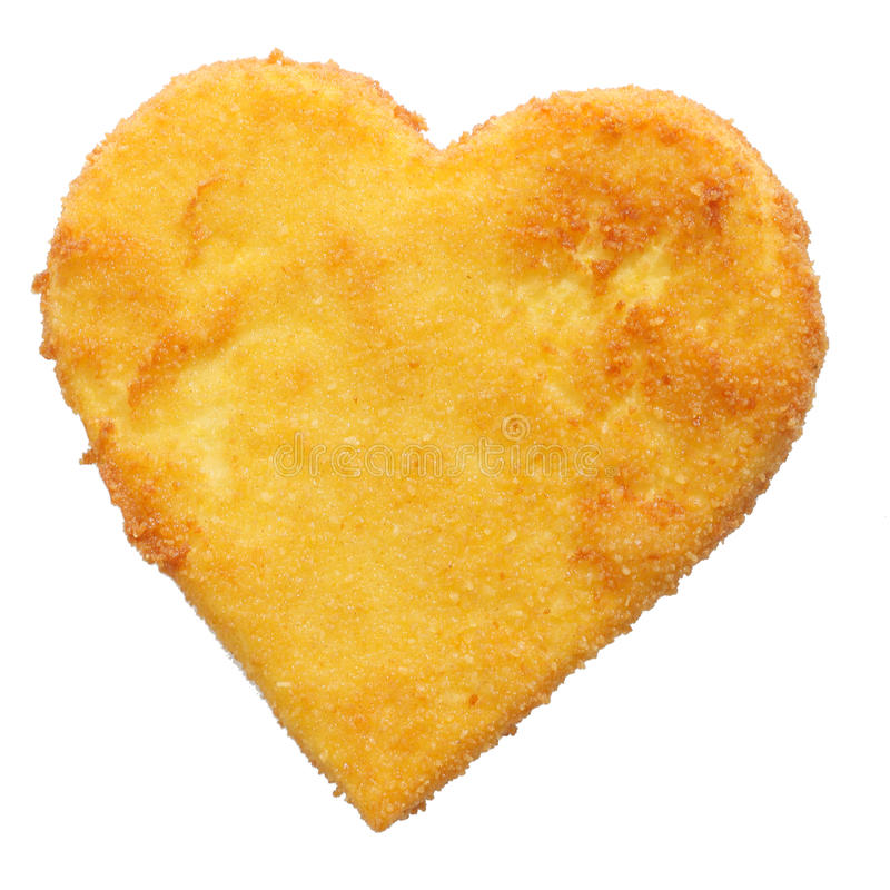 Fried cheese, fish or chicken meat in heart shape. Delicious fried breaded cheese, fish or chicken meat in heart shape, shot from high angle, isolated on white stock image