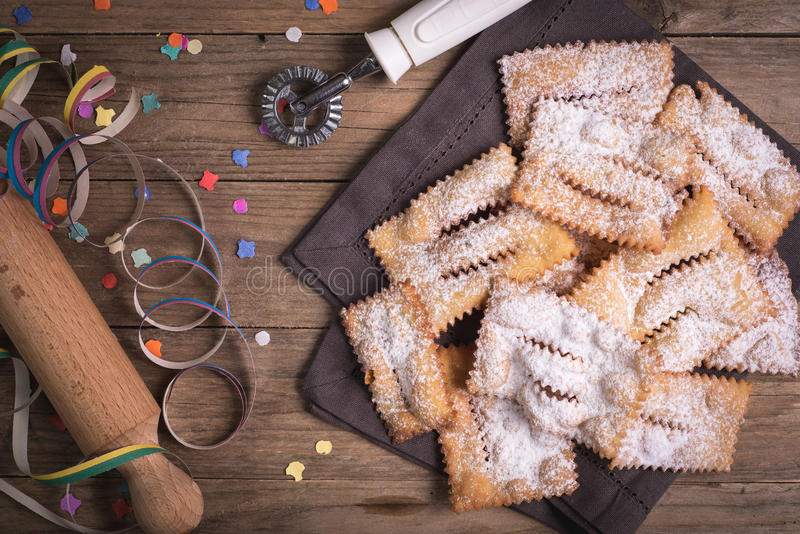 Fried chiacchiere carnevale royalty free stock images