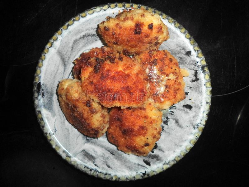 fried chicken chops with cheese royalty free stock photo