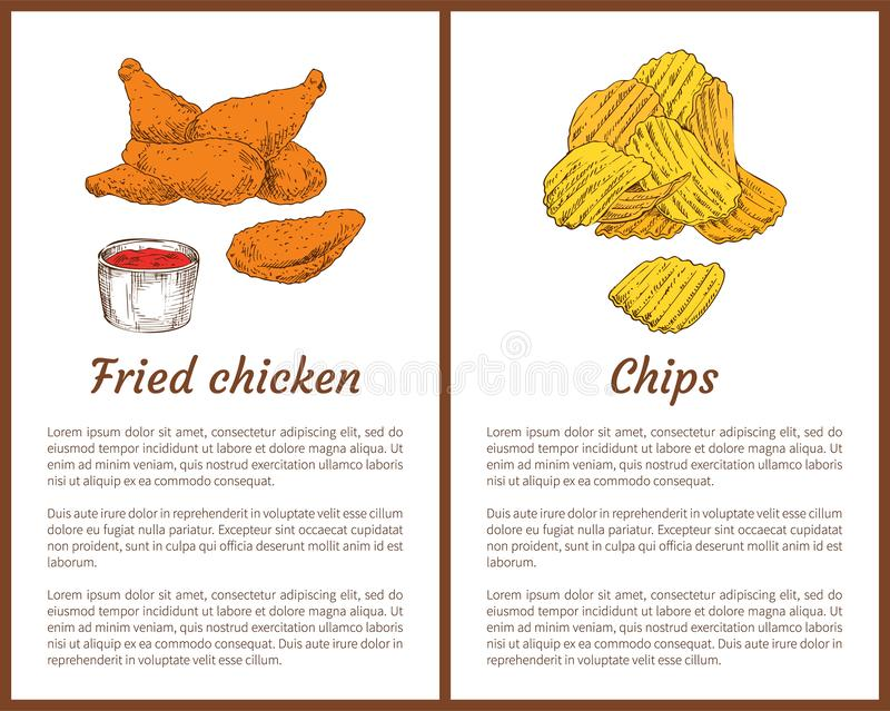 Fried Chicken e Chips Set Vetora Illustration ilustração royalty free