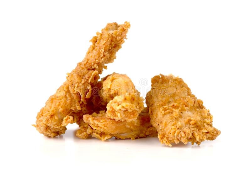 Fried chicken fillets on a white background. Fried chicken nuggets close-up stock photos