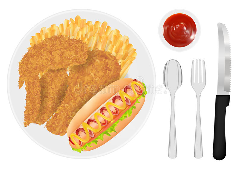 Fried chicken french fries and hot dog sausage on a dish vector illustration