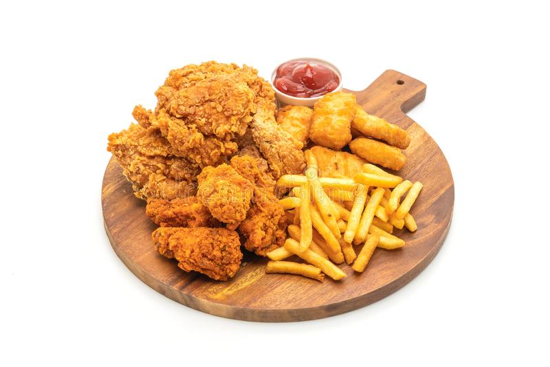 fried chicken with french fries and nuggets meal (junk food and unhealthy food stock image
