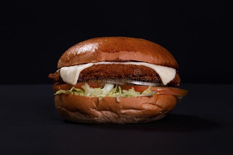 Fried Chicken hamburgare med ost arkivbilder