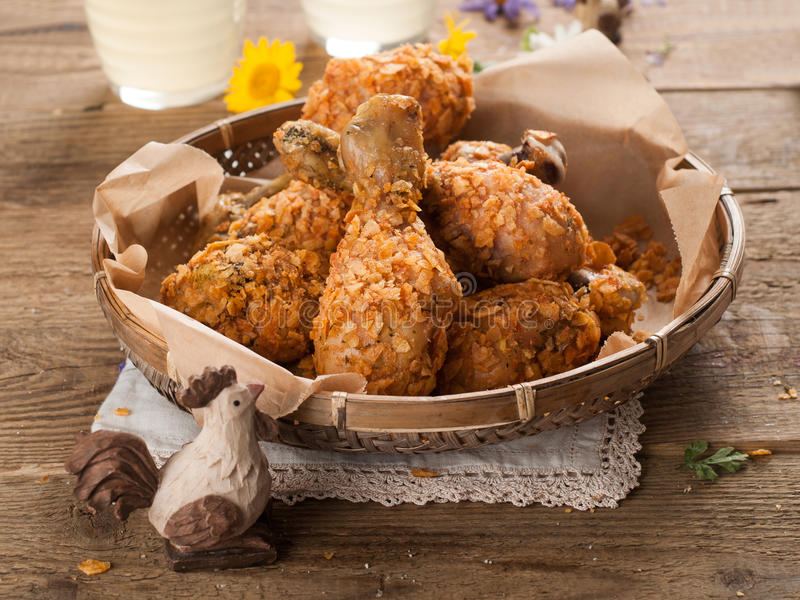 Fried chicken leg stock photo  Image of diet, meat, dinner