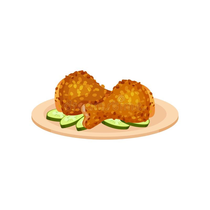 Fried chicken legs served with cucumbers on a plate, tasty poultry dish vector Illustration on a white background stock illustration