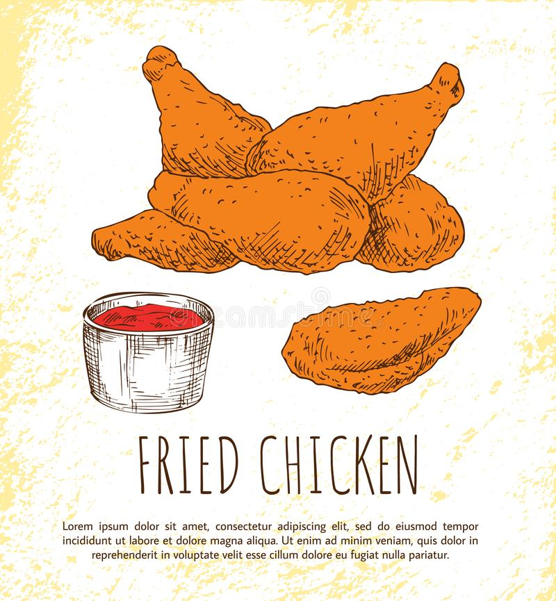 Fried Chicken Legs with Tasty Ketchup Color Poster stock illustration