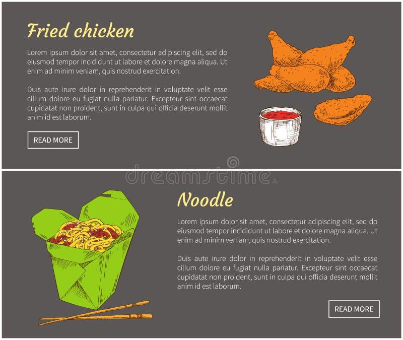 Fried Chicken and Noodle Set Vector Illustration vector illustration