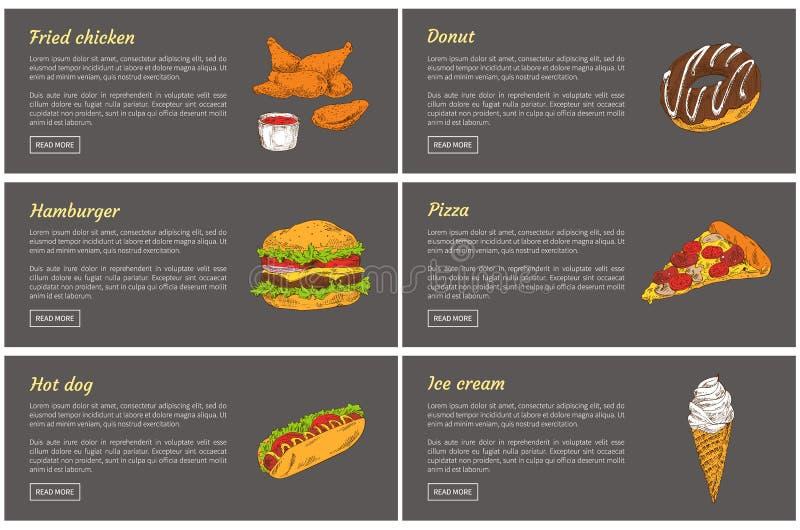 Fried Chicken och hamburgarevektorillustration stock illustrationer