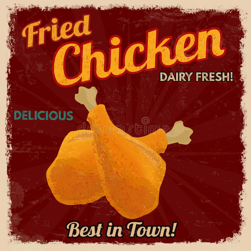 Fried chicken retro poster. In vintage style, vector illustration royalty free illustration