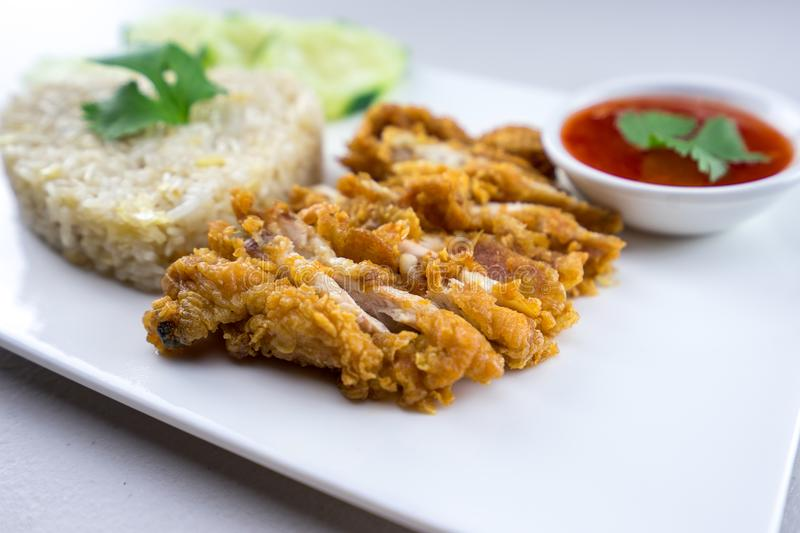 Fried-Chicken Rice. Thai style royalty free stock photography
