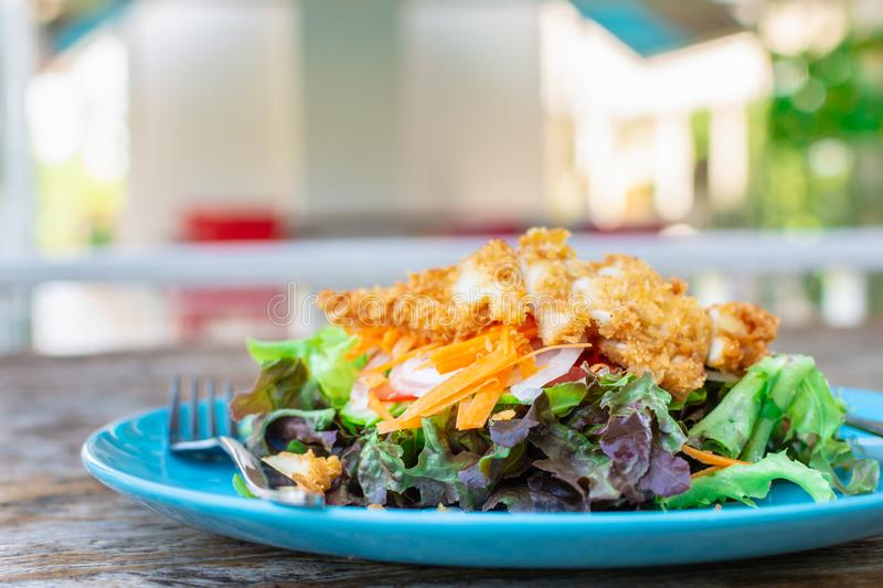 Fried chicken salad on green clean and healthly diet food. stock photography